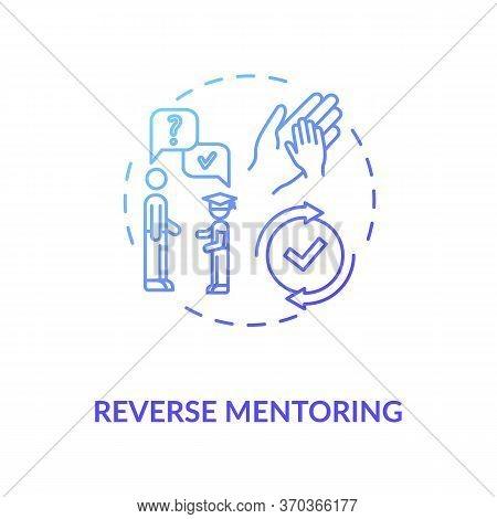 Reverse Mentoring Concept Icon. Junior Specialist Helping Senior Professional Idea Thin Line Illustr
