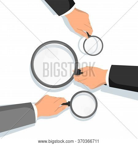 Hands Holding Magnifying Glass. Information Search And Check. Professional Consulting And Financial
