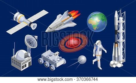 Spaceship Isometric. Space Shuttle, Cosmic Rocket, Orbital Satellite, Mars Rover, Planets And Space