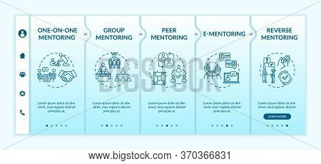 Mentorship Systems Onboarding Vector Template. Education Guidance. Learning In Group. One On One Men