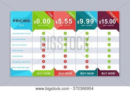 Pricing Table Design. Simple Price List Design With Services Descriptions. Web Comparison Pricing Ta