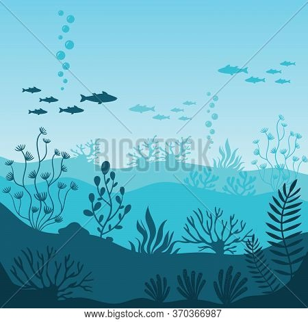 Marine Underwater Life. Silhouette Of Coral Reef With Fishes On Bottom In Blue Sea. Tropical Sea Wit