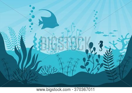 Aquarium Life. Silhouettes Of Coral Reef With Fishes In Blue Water. Tropical Aquarium With Seaweed A