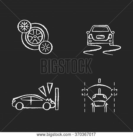Car Security Measures Chalk White Icons Set On Black Background. Driver Assistance. Seasonal Tyres,