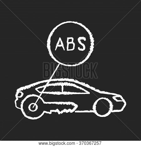 Anti Lock System Chalk White Icon On Black Background. Safe Driving, Automobile Security Measure, Ca