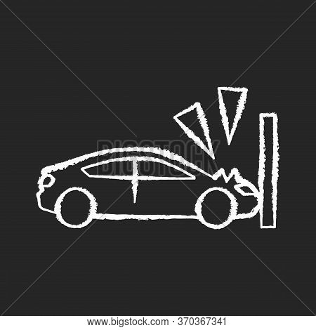 Crash Test Chalk White Icon On Black Background. Traffic Accident, Car Wreck, Life Insurance. Vehicl