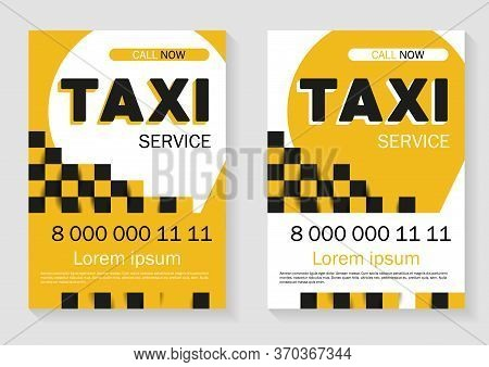 Taxi Service Advertising. Trendy Template Of Taxi Advertising With Space For Phone Number And Servic
