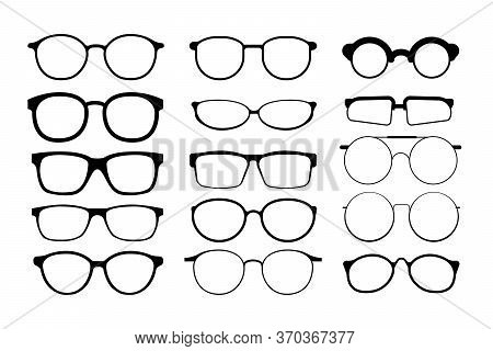 Black Glasses Rim. Eyeglasses And Sunglasses Collection Illustration. Vintage, Classic And Modern St