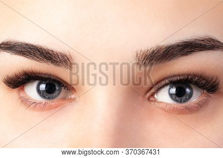 The Final Result Of Eyelash Extensions. Professionally Extended Eyelashes In A Young Girl With Blue