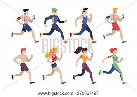 Jogging People. Outdoor Activity, Training To Marathon Running And Sport Competition. Jogging Men An