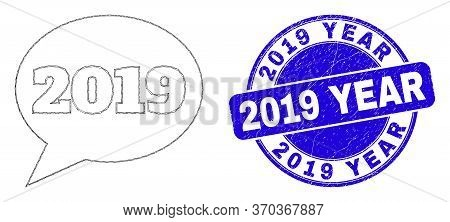 Web Mesh 2019 Message Balloon Icon And 2019 Year Stamp. Blue Vector Rounded Scratched Stamp With 201