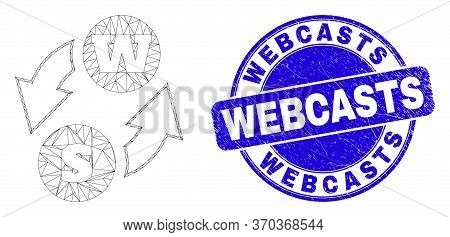 Web Carcass Alphabet Characters Exchange Icon And Webcasts Stamp. Blue Vector Round Scratched Seal S