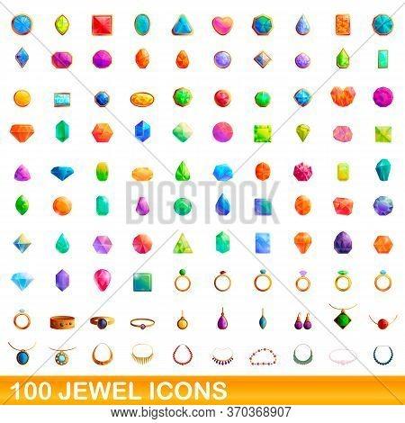 100 Jewel Icons Set. Cartoon Illustration Of 100 Jewel Icons Vector Set Isolated On White Background