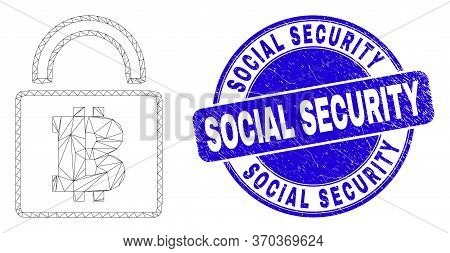 Web Carcass Bitcoin Lock Pictogram And Social Security Seal. Blue Vector Rounded Scratched Seal With