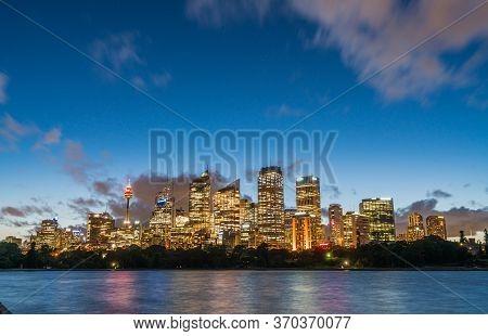Beautiful Sydney Downtown Skyline At Night, Nsw, Australia.