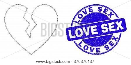 Web Carcass Broken Heart Pictogram And Love Sex Seal. Blue Vector Rounded Scratched Watermark With L