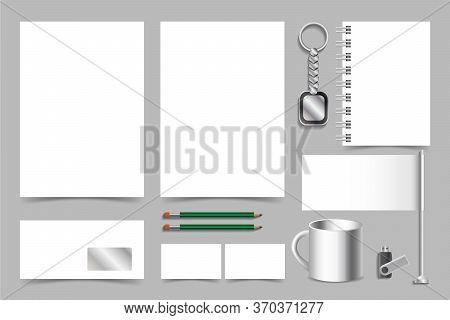 Vector Set Of Corporate Identity Branding Mockup. Realistic 3d Presentation Of Company Style. Empty