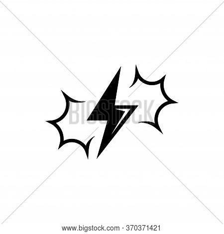 Thunder And Lightning, Thunderbolt Flash. Flat Vector Icon Illustration. Simple Black Symbol On Whit