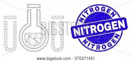 Web Mesh Chemical Tubes Pictogram And Nitrogen Stamp. Blue Vector Rounded Textured Seal Stamp With N