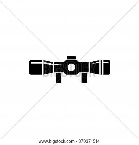 Optical Sniper Sight For Hunting Rifles. Flat Vector Icon Illustration. Simple Black Symbol On White