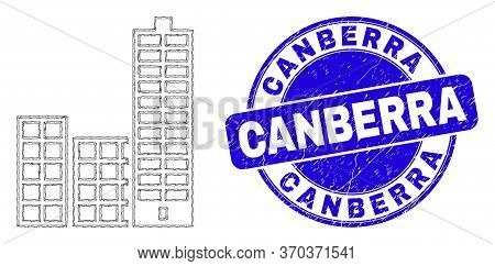 Web Carcass City Buildings Pictogram And Canberra Watermark. Blue Vector Round Grunge Watermark With