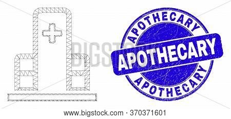 Web Carcass Clinic Building Pictogram And Apothecary Seal Stamp. Blue Vector Rounded Textured Seal S