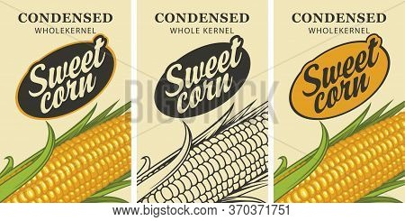 Sweet Corn Labels In Retro Style. Set Of Vector Labels Or Banners For Sweet Corn With Corn Cob And I
