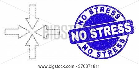 Web Mesh Collapse Arrows Icon And No Stress Seal. Blue Vector Round Grunge Seal Stamp With No Stress