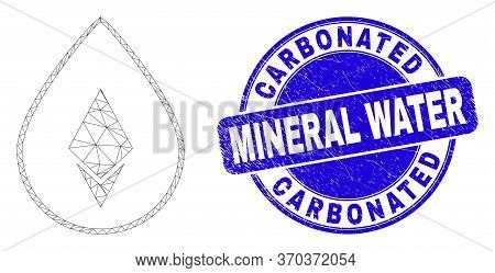 Web Mesh Crystal Drop Pictogram And Carbonated Mineral Water Seal Stamp. Blue Vector Rounded Texture