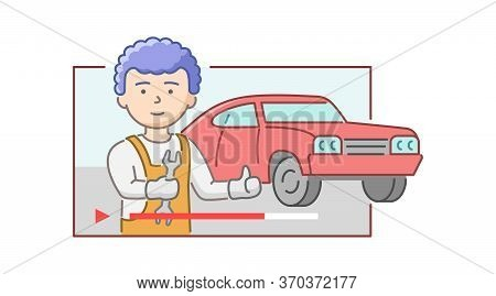 Concept Of Car Repair Shop. Cheerful Car Mechanic With Wrench In Hands On Retro Car Background Show