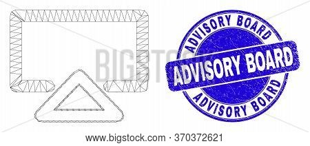 Web Carcass Display Icon And Advisory Board Seal. Blue Vector Rounded Scratched Seal With Advisory B