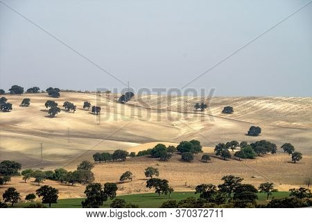 View Of The Fields And Countryside Over Embalse De Guadalcacin, Near The Town Of San Jose Del Valle,