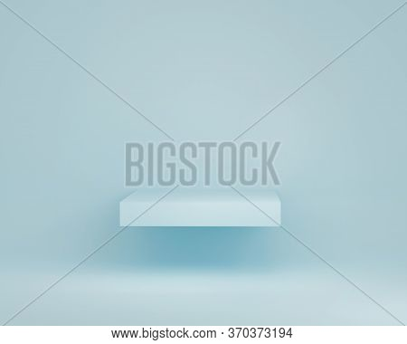 3d Pastel Blue Display Podium. Square Levitating Shelf For Product Promotion With Copy Space. Clean