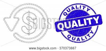 Web Mesh Dollar Refund Pictogram And Quality Stamp. Blue Vector Rounded Textured Seal Stamp With Qua