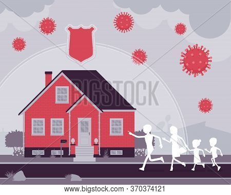 Safe House, Stay Home, Self-isolate For Black Family Protection. Parents And Children Running In Qua