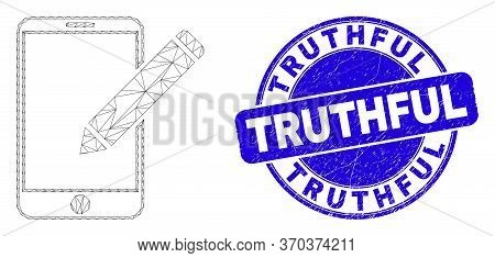Web Mesh Edit Phone Records Pictogram And Truthful Seal Stamp. Blue Vector Rounded Grunge Seal Stamp