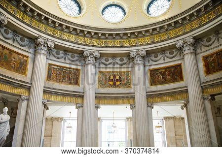 Dublin, Ireland - July 1, 2019: City Hall Or Royal Exchange Of Dublin, Famous Tourist Attraction. Th
