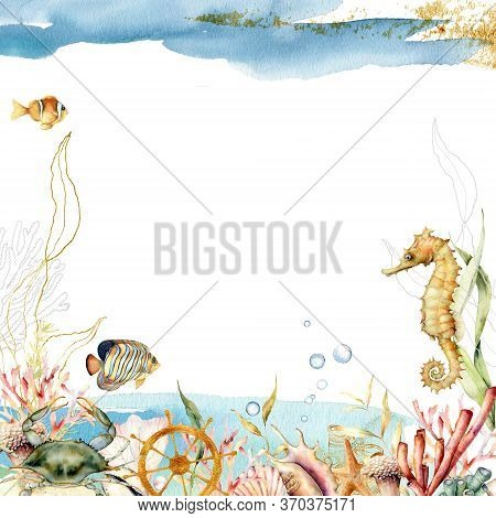 Watercolor Underwater Frame With Composition Of Crab, Seahorse And Coral. Hand Painted Illustration
