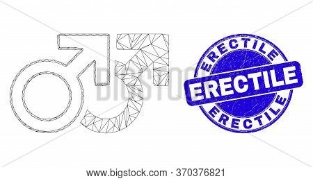Web Mesh Gay Pair Symbol Icon And Erectile Seal Stamp. Blue Vector Rounded Distress Stamp With Erect