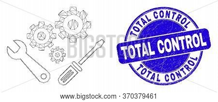 Web Mesh Instrumental Tools Icon And Total Control Seal. Blue Vector Rounded Textured Seal With Tota
