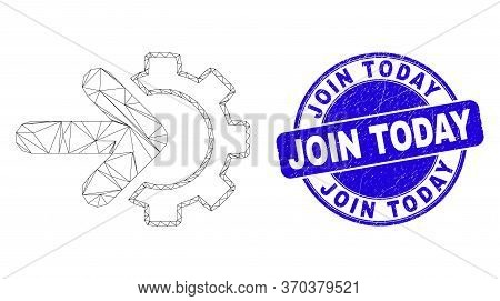 Web Carcass Integration Gear Icon And Join Today Seal Stamp. Blue Vector Round Textured Seal Stamp W