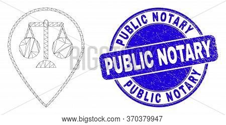 Web Carcass Justice Map Marker Icon And Public Notary Seal. Blue Vector Rounded Textured Seal Stamp