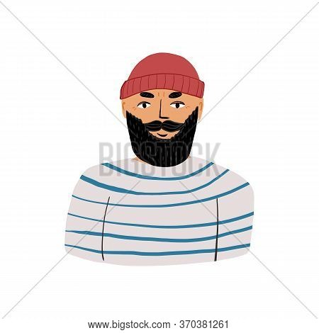 Portrait of a kind bearded sailor or fisher in a marine blue-and-white striped shirt and a beanie hat.