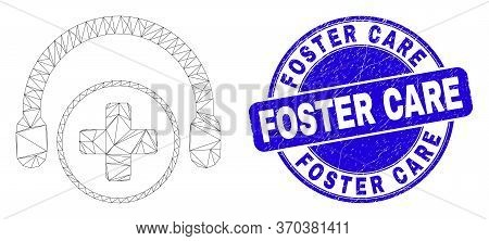 Web Mesh Medical Assistance Headphones Icon And Foster Care Stamp. Blue Vector Rounded Distress Stam