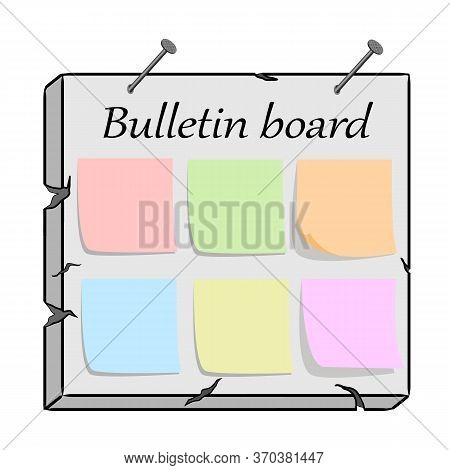 Color Vector Illustration Of A Bulletin Board.board For Information And Announcements In Vector Illu