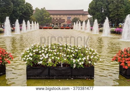 Tokyo / Japan - October 21, 2017: Fountains In Front Of Tokyo National Museum, The Oldest Japanese N
