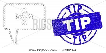 Web Mesh Medical Message Hint Pictogram And Tip Watermark. Blue Vector Round Textured Watermark With
