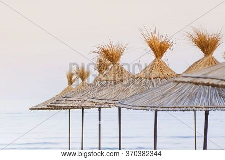 Empty Beaches. Empty Deck Chairs On The Beach On A Summer Day.empty Deck Chairs For Relaxing By The