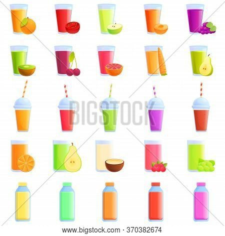 Fresh Juice Icons Set. Cartoon Set Of Fresh Juice Vector Icons For Web Design