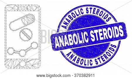 Web Mesh Mobile Pharmacy Chart Icon And Anabolic Steroids Seal Stamp. Blue Vector Round Textured Sea